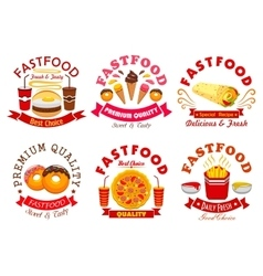 Fast food cafe and pizzeria sign set vector image