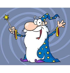 Happy Wizard Waving And Cape Holding A Magic Wand vector image vector image