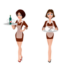 two cute waitress vector image