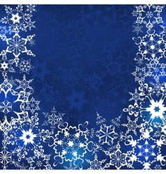 Blue winter background with snowflakes vector image vector image