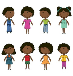 Cute happy African-American kids vector image vector image