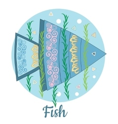Fish Icon on blue background vector image vector image