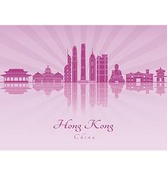 Hong Kong V2 skyline in purple radint orchid vector image