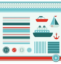 sea theme elements for scrapbooking vector image