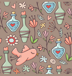 seamless pattern potions birds flowers brown vector image