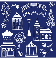 Small town design elements vector image