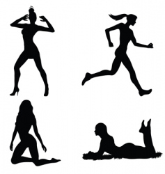woman silhouette set vector image vector image