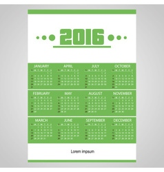 2016 simple business wall calendar green and white vector