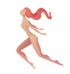 A flying free woman in modern vector