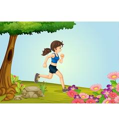 A girl running vector image