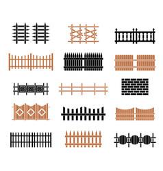 a large set fences vector image