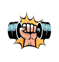 Arm with dumbbell gym club logo vector