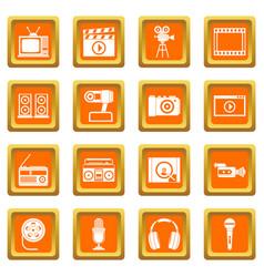 Audio and video icons set orange vector