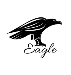 Black heraldic eagle bird icon vector