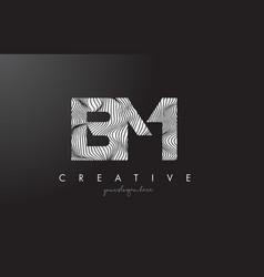 Bm b m letter logo with zebra lines texture vector