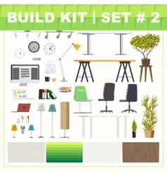 Build kit 2 office furniture vector image