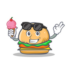 Burger character fast food with ice cream vector