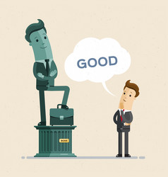 Businessman look at his sculpture statue vector