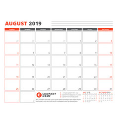 Calendar template for august 2019 business vector