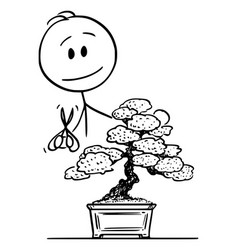 cartoon man pruning bonsai tree vector image