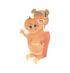 cartoon mother holding kissing infant baby vector image