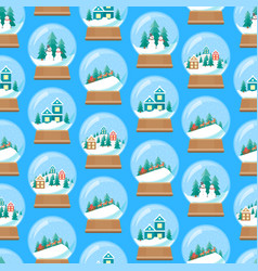 cartoon snow globe seamless pattern background vector image