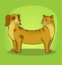 cat dog fake animal pop art vector image