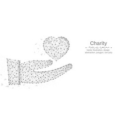 charity hands holding heart made by points and vector image
