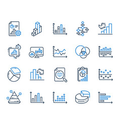 charts and diagrams line icons set 3d chart vector image