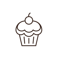 cherry cupcake linear style icon vector image