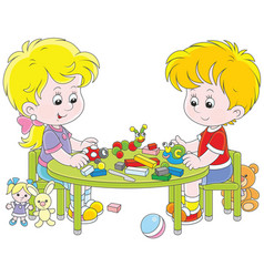 Children making plasticine toys vector