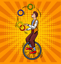 circus juggler on unicycle pop art vector image
