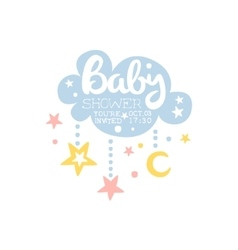 Cloud And Stars Baby Shower Invitation Design vector