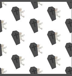 coffin halloween mummy seamless pattern vector image