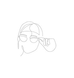 continuous one line abstract woman puts on glasses vector image