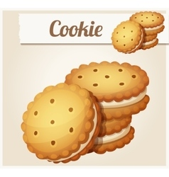 Cookie with white cream Detailed icon vector image