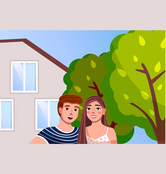 couple man and woman at family villa house vector image