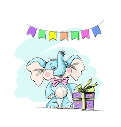 cute and funny baelephant with a gift and flags vector image