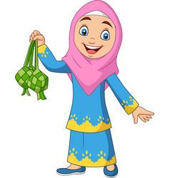 Cute muslim girl holding a ketupat vector