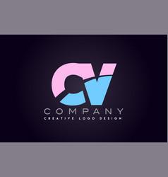 Cv alphabet letter join joined letter logo design vector