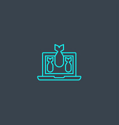ddos concept blue line icon simple thin element vector image