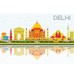 Delhi Skyline with Color Buildings vector
