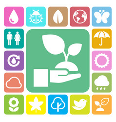 eco icons set vector image