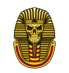 egyptian pharaoh skull with gold mask vector image