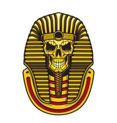 Egyptian pharaoh skull with gold mask vector