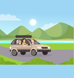 family road trip flat mother vector image