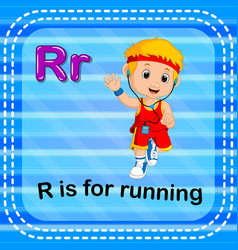 Flashcard letter r is for running vector