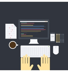 Flat programming pack vector image