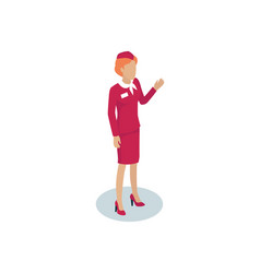 fly attendant greeting icon vector image