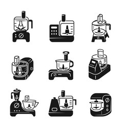 Food processor icons set simple style vector